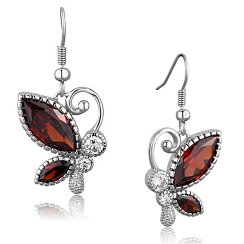 3W613 - Brass Earrings Rhodium Women AAA Grade CZ Garnet