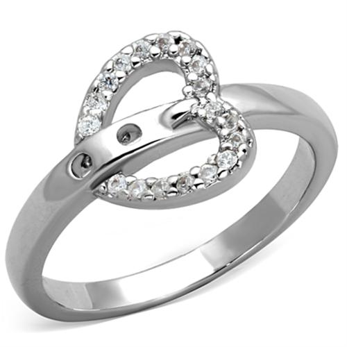 3W573 - Brass Ring Rhodium Women AAA Grade CZ Clear