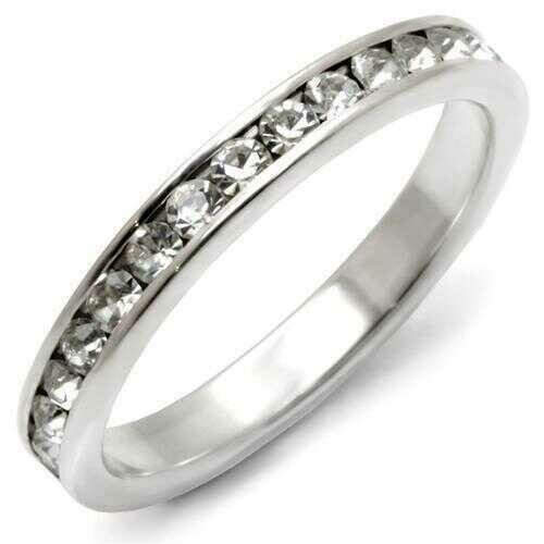 35128 - 925 Sterling Silver Ring High-Polished Women Top Grade Crystal Clear