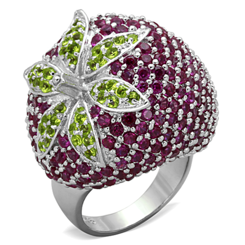 LOS774 - 925 Sterling Silver Ring Rhodium Women AAA Grade CZ Multi Color