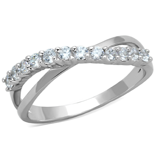 3W742 - Brass Ring Rhodium Women AAA Grade CZ Clear