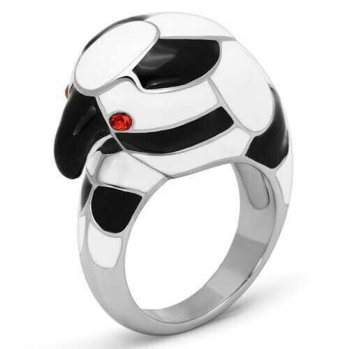 TK806 - Stainless Steel Ring High polished (no plating) Women Top Grade Crystal Orange