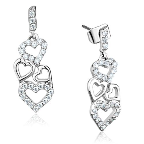 3W640 - Brass Earrings Rhodium Women AAA Grade CZ Clear