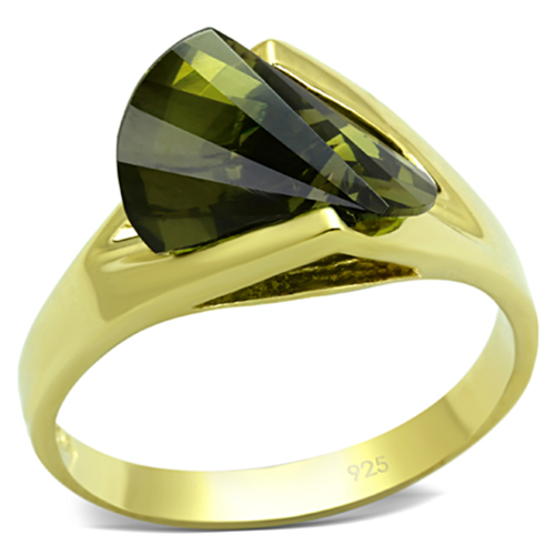 LOS655 - 925 Sterling Silver Ring Gold Women AAA Grade CZ Olivine color