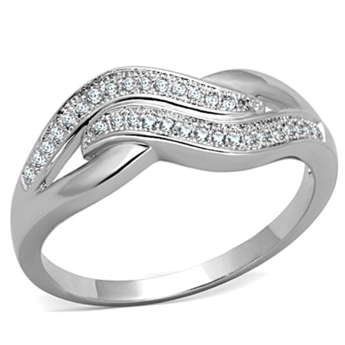 3W724 - Brass Ring Rhodium Women AAA Grade CZ Clear