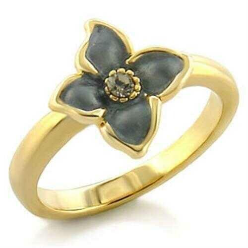 LO518 - White Metal Ring Gold Women Top Grade Crystal Black Diamond