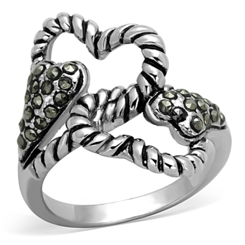 3W608 - Brass Ring Rhodium Women Synthetic Black Diamond