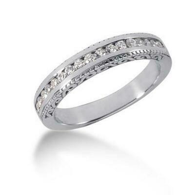 14k White Gold Vintage Style Engraved Diamond Channel Set Wedding Ring Band, size 7.5