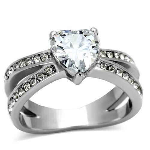 TK851 - Stainless Steel Ring High polished (no plating) Women AAA Grade CZ Clear