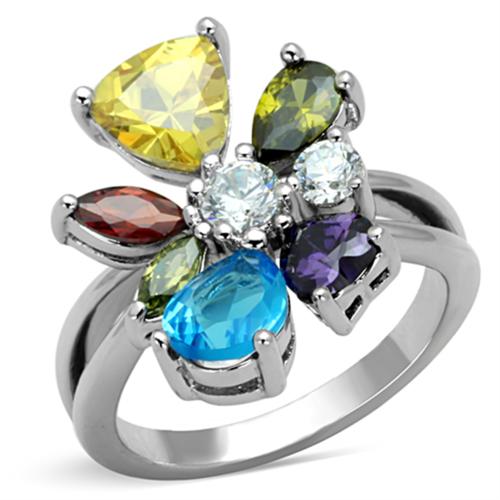 3W789 - Brass Ring Rhodium Women AAA Grade CZ Multi Color