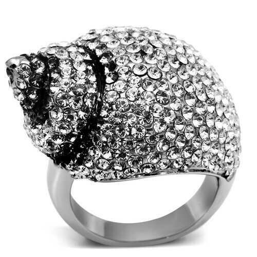 TK661 - Stainless Steel Ring High polished (no plating) Women Top Grade Crystal Clear