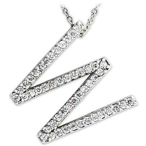 21621 - Brass Pendant Rhodium Women AAA Grade CZ Clear