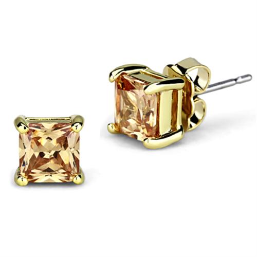 3W540 - Brass Earrings Gold Women AAA Grade CZ Champagne