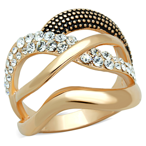 3W737 - Brass Ring Rose Gold Women Top Grade Crystal Clear