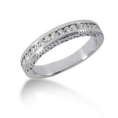 14k White Gold Vintage Style Engraved Diamond Channel Set Wedding Ring Band, size 8.5