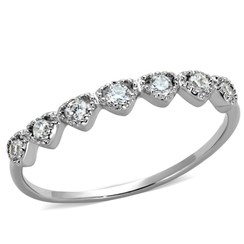 3W868 - Brass Ring Rhodium Women AAA Grade CZ Clear