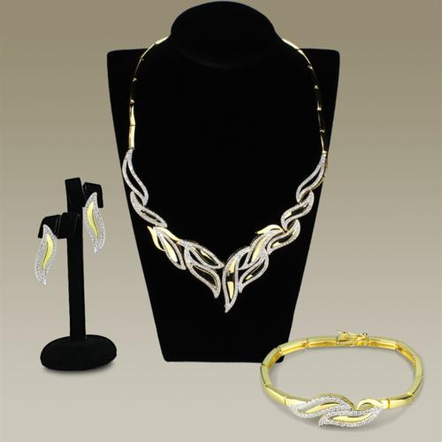 3W941 - Brass Jewelry Sets Gold+Rhodium Women AAA Grade CZ Clear