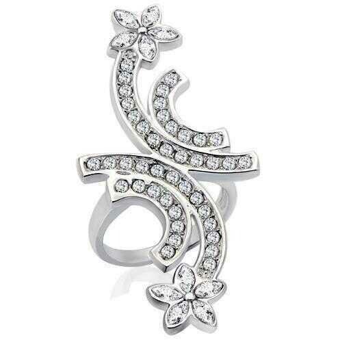 34731 - Brass Ring Rhodium Women Top Grade Crystal Clear