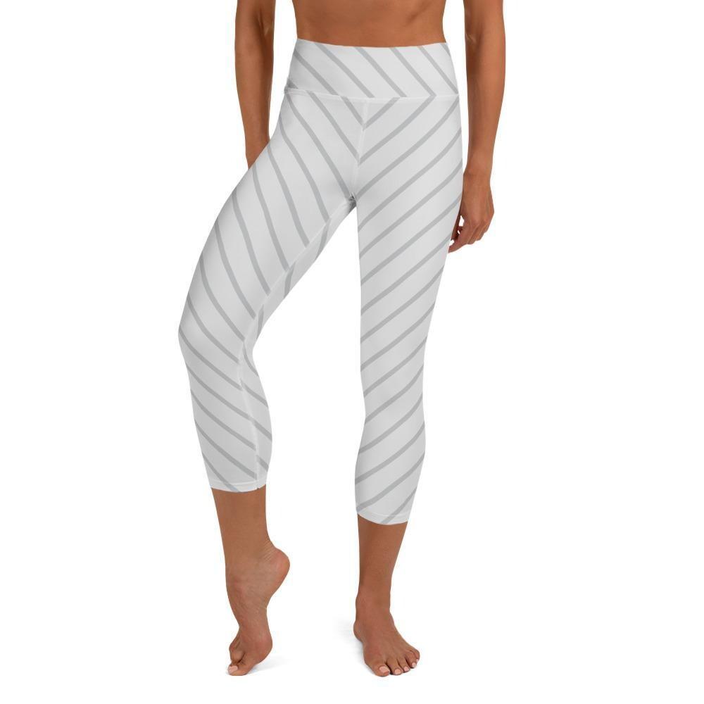 Diagonal Thin Striped High Waist Yoga Capris