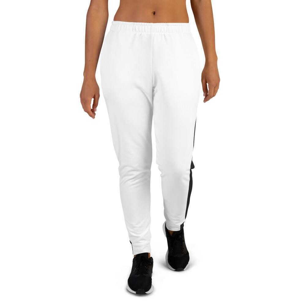 Women's White Joggers with Stripe