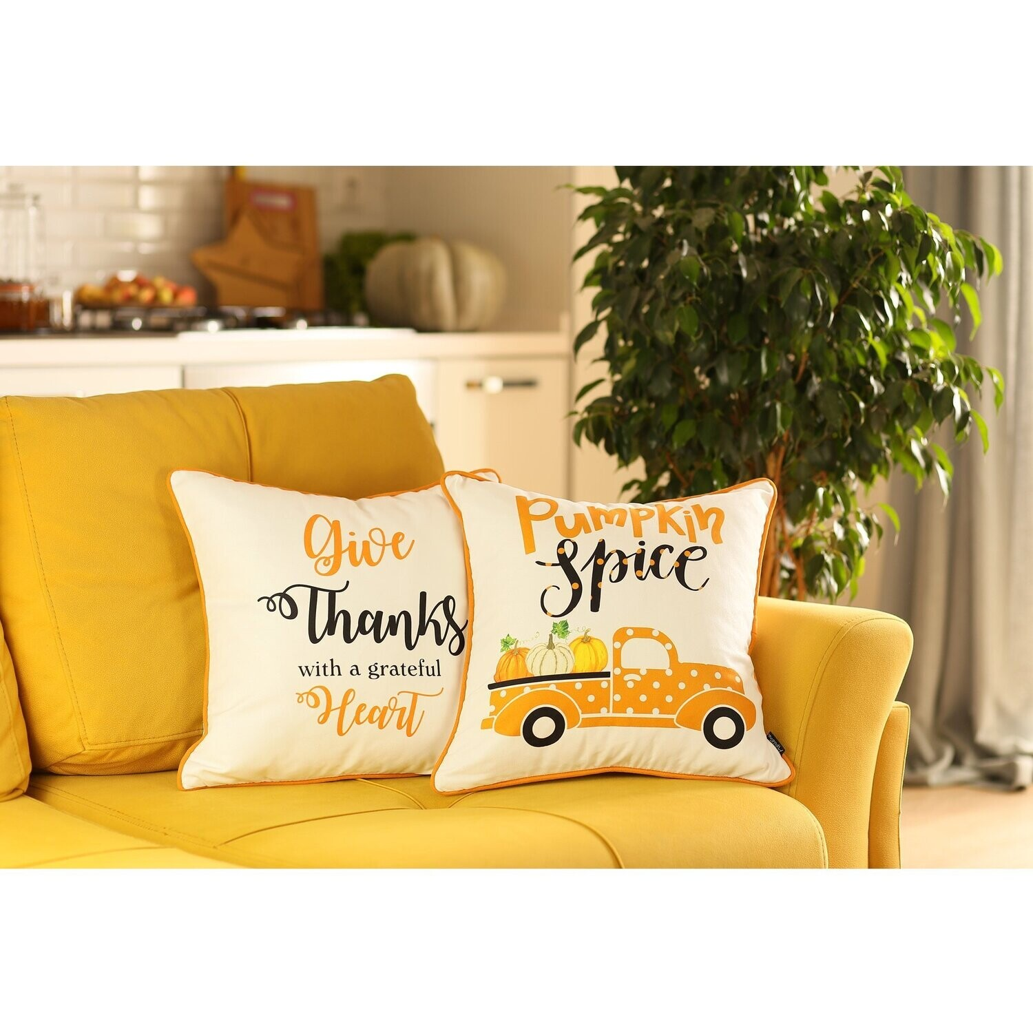 """Set of 2 18"""" Thanksgiving Pumpkin Spice Throw Pillow Cover in"""