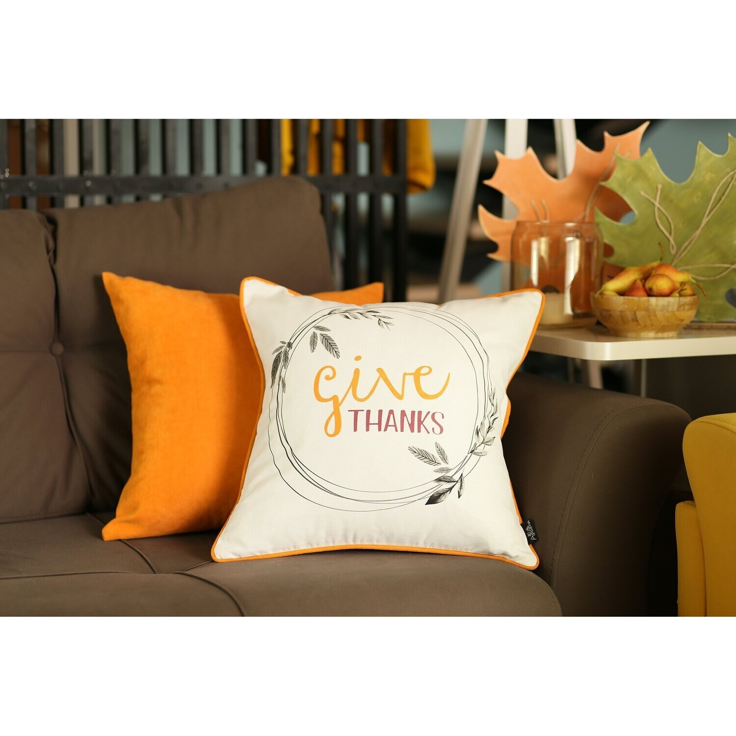 """Set of 4 18"""" Thanksgiving Pie Throw Pillow Cover in Muliticolor"""