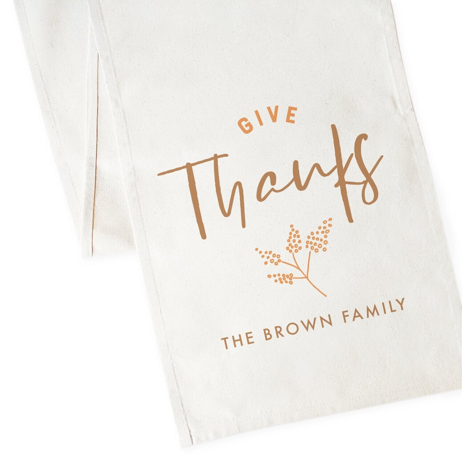 Personalized Family Last Name Give Thanks Canvas Table Runner