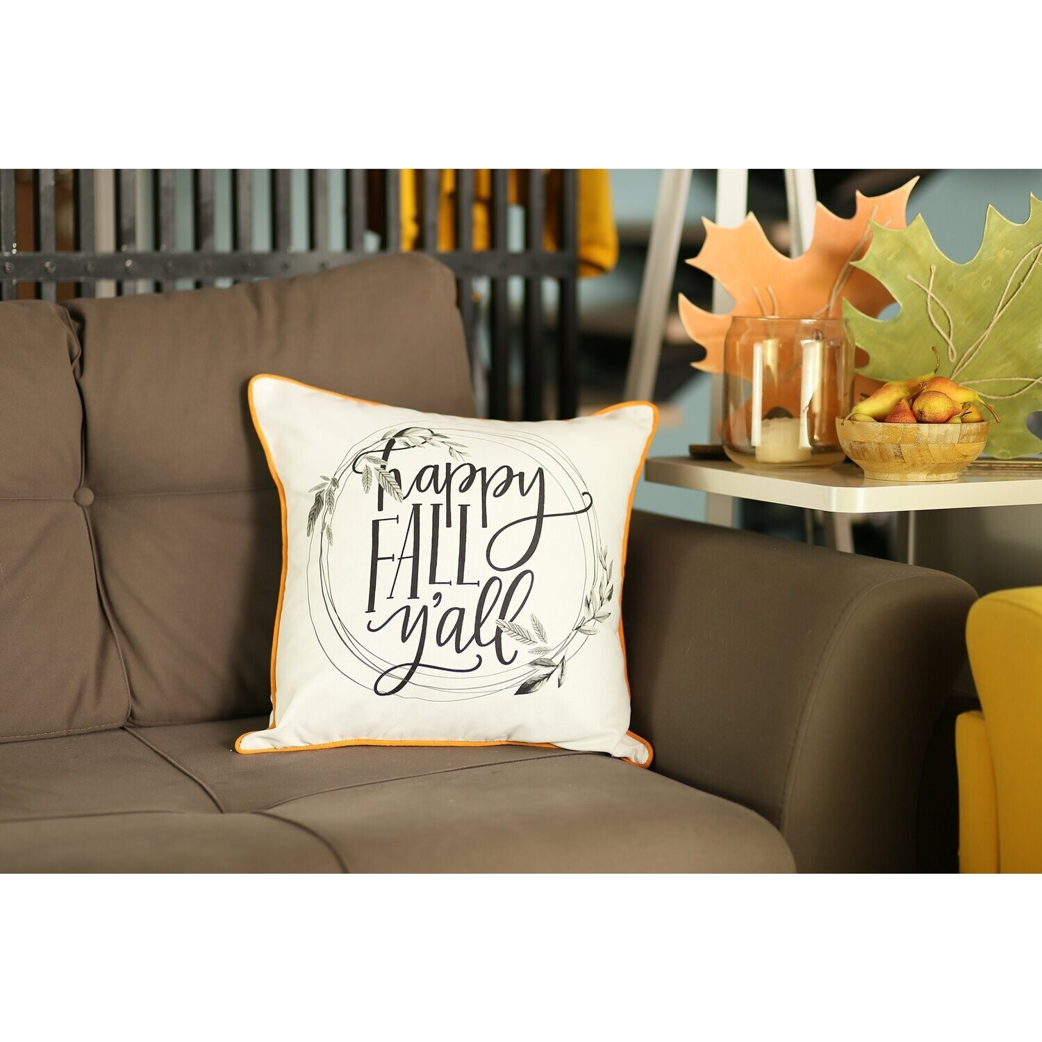 """Set of 4 18"""" Thanksgiving Quote Throw Pillow Cover in Multicolor"""