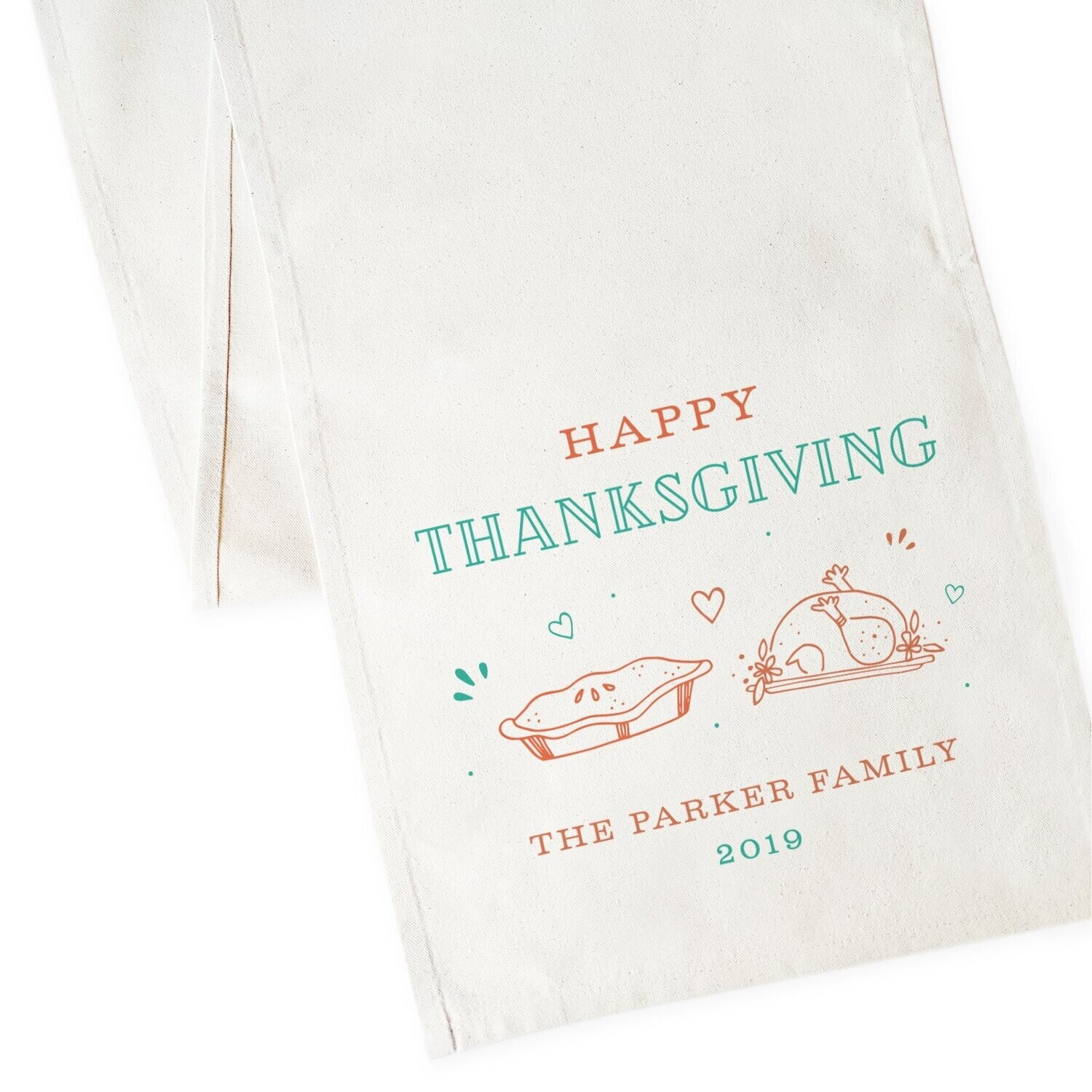 Personalized Family Last Name Happy Thanksgiving and Year Canvas Table