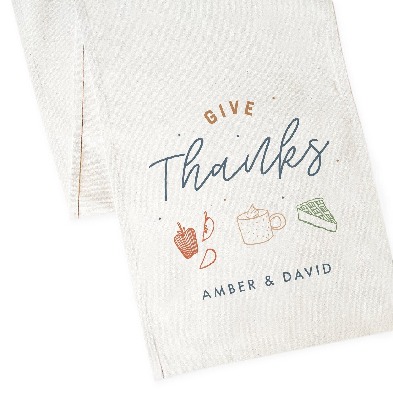 Personalized Couple Names Give Thanks Canvas Table Runner