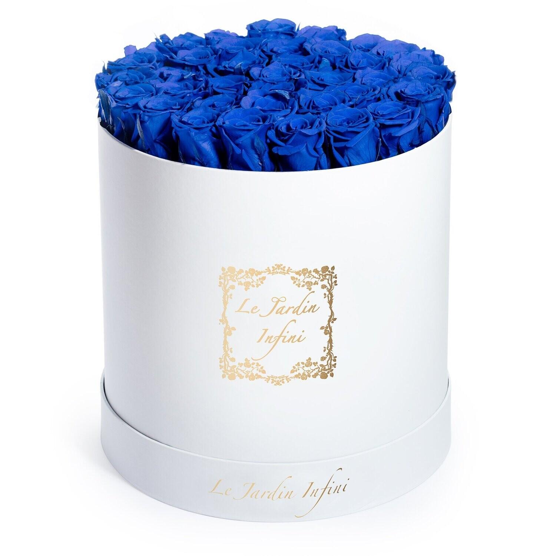 Royal Blue Preserved Roses - Large Round White Box