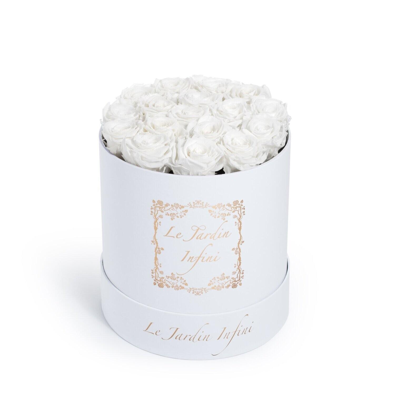 White Preserved Roses - Medium Round White Box