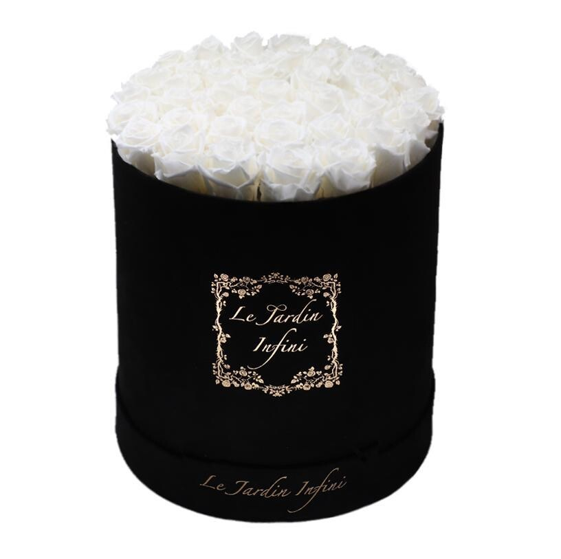 White Preserved Roses - Large Round Luxury Black Suede Box
