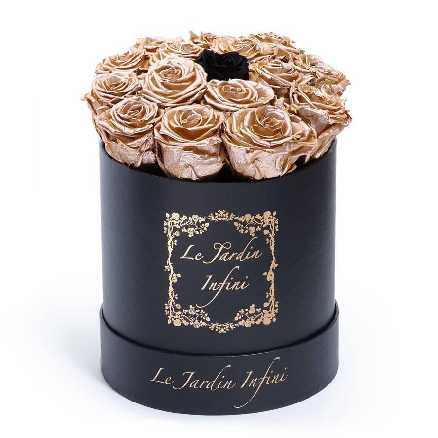 Rose Gold Preserved Roses with 1 Black Rose - Medium Round Black Box