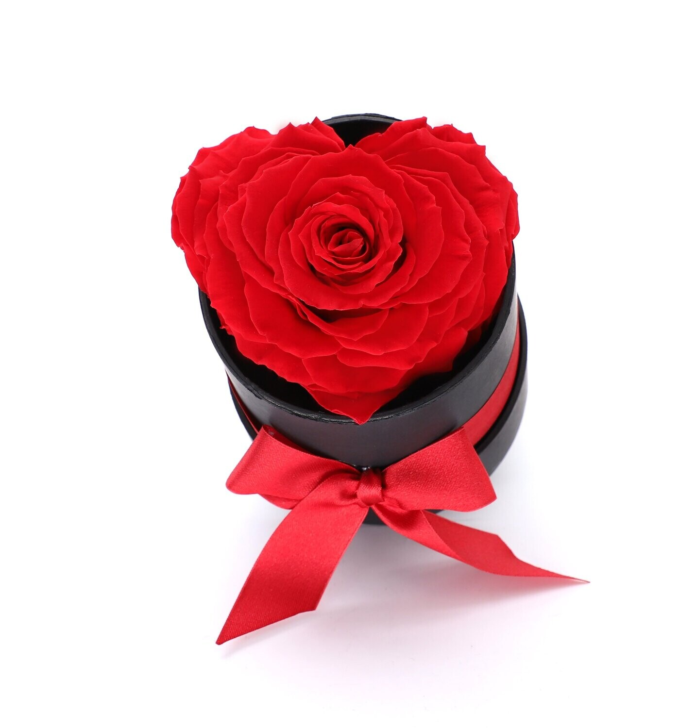 Red Heart Shape Forever Rose in A Box- Black Gift Box