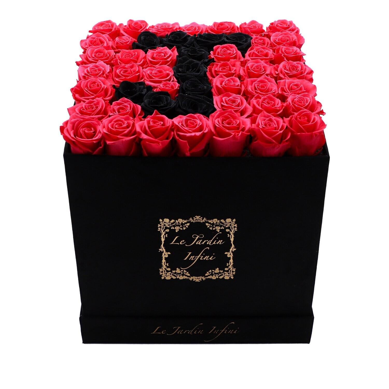 Letter J Black & Red Preserved Roses - Large Square Luxury Black Suede