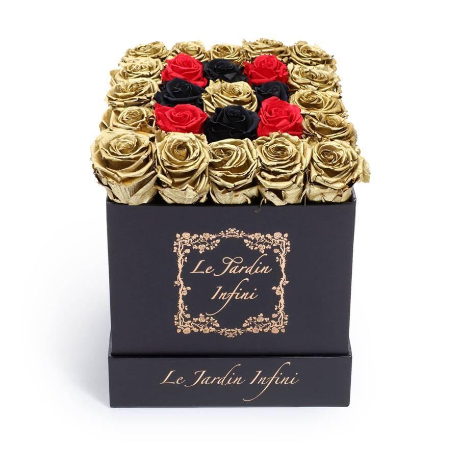Gold, Black & Red Preserved Roses - Medium Square Black Box