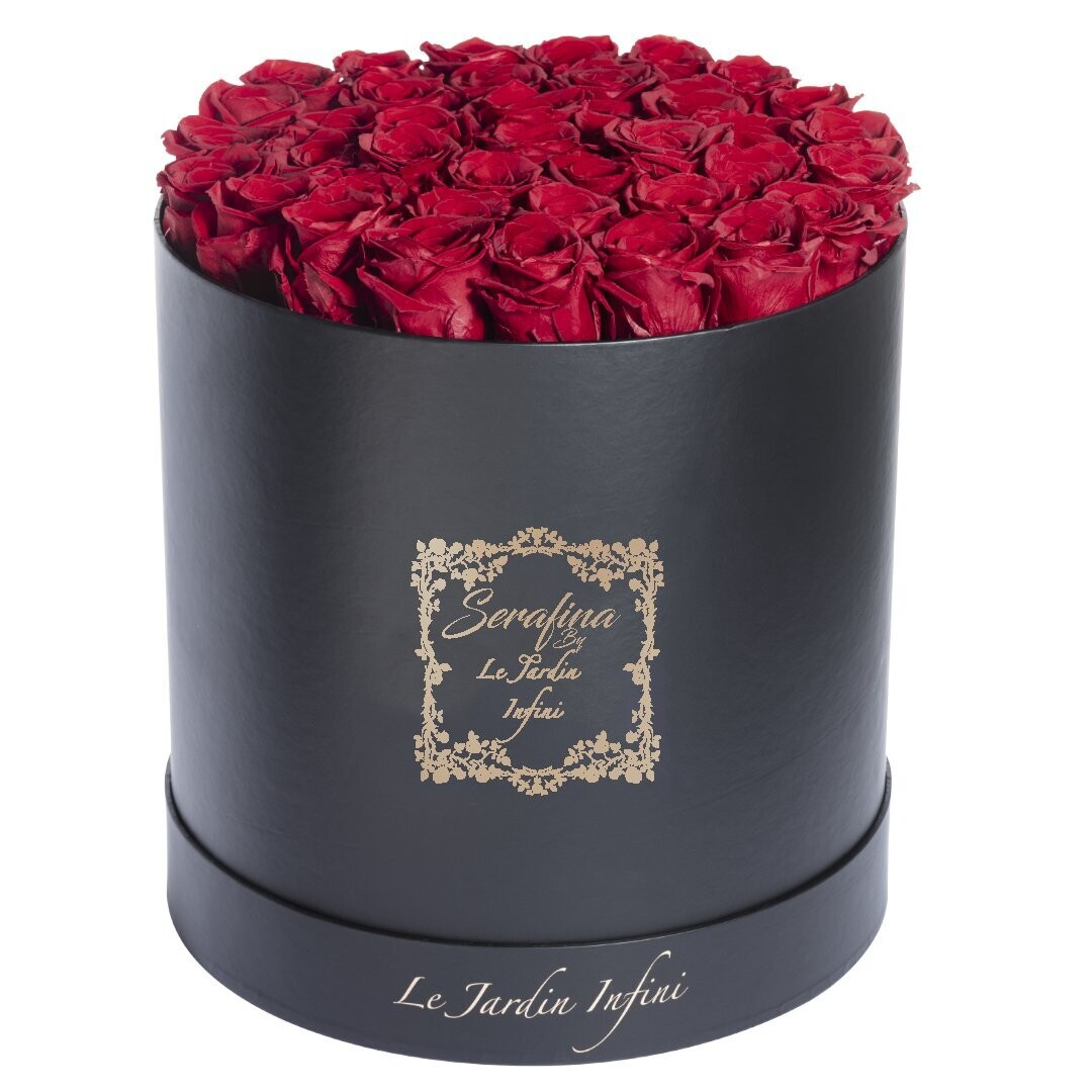The Serafina - Red Preserved Roses - Large Round Black Box