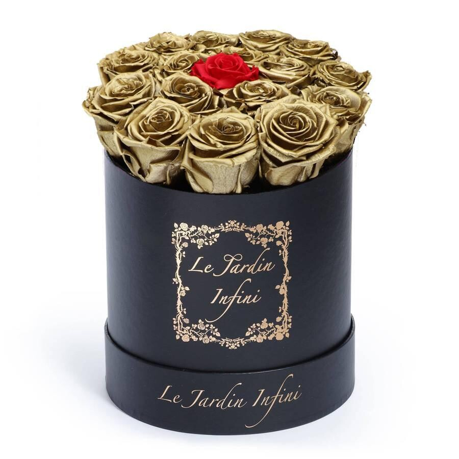 Gold Preserved Roses with 1 Red Rose - Medium Round Black Box