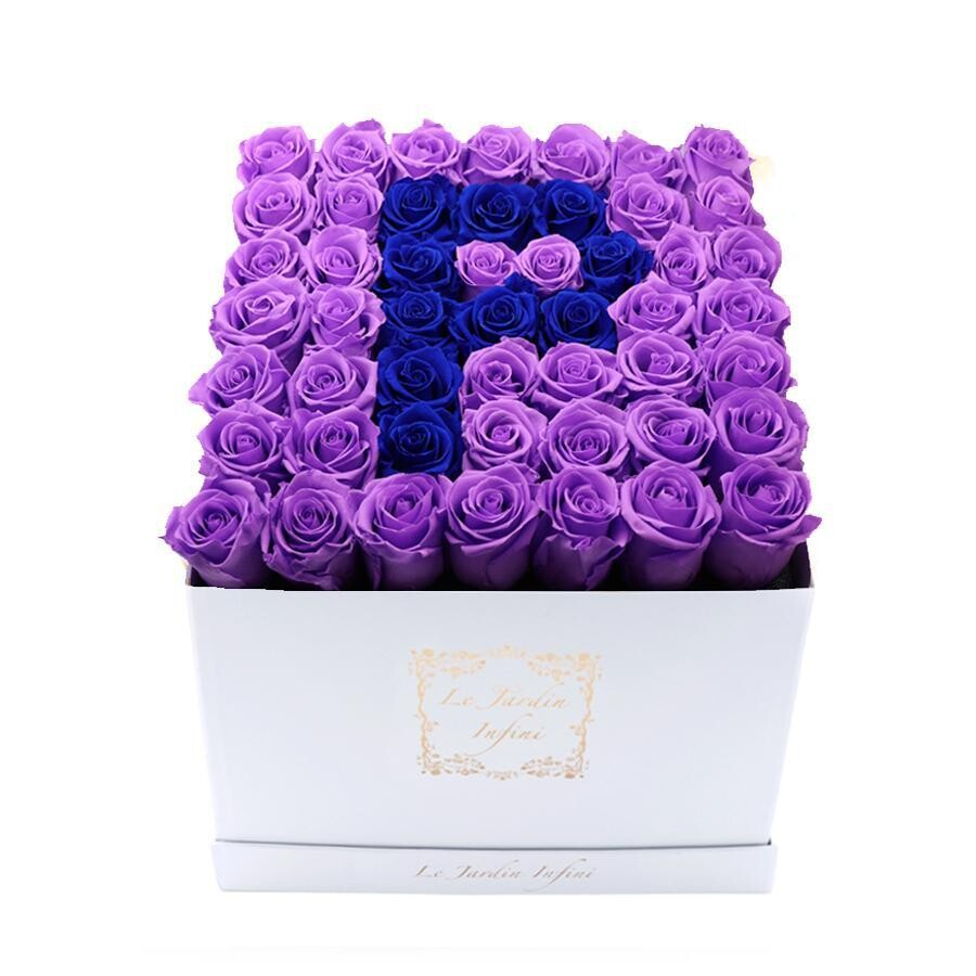 Letter P Royal Blue & Lilac Preserved Roses - Large Square Luxury