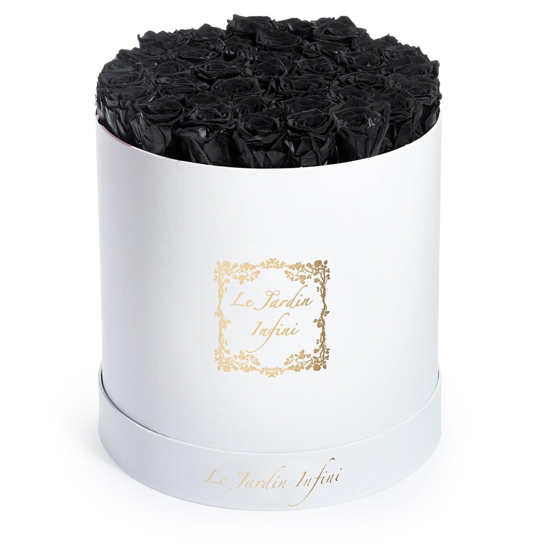Matte Black Preserved Roses - Large Round White Box
