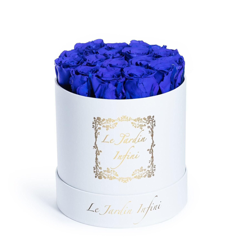 Royal Blue Preserved Roses - Medium Round White Box