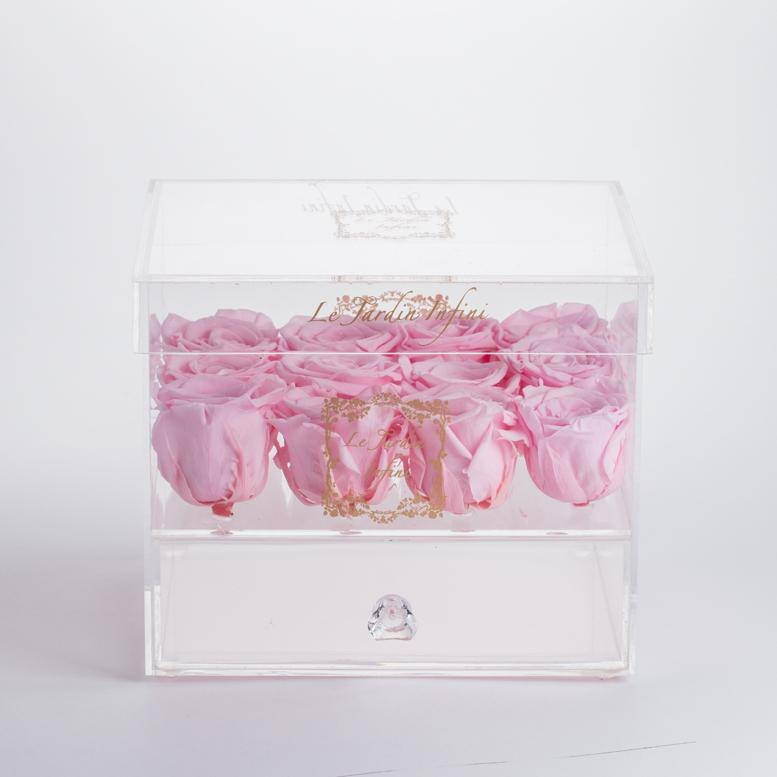 12 Custom Preserved Roses - Acrylic Box With Drawer