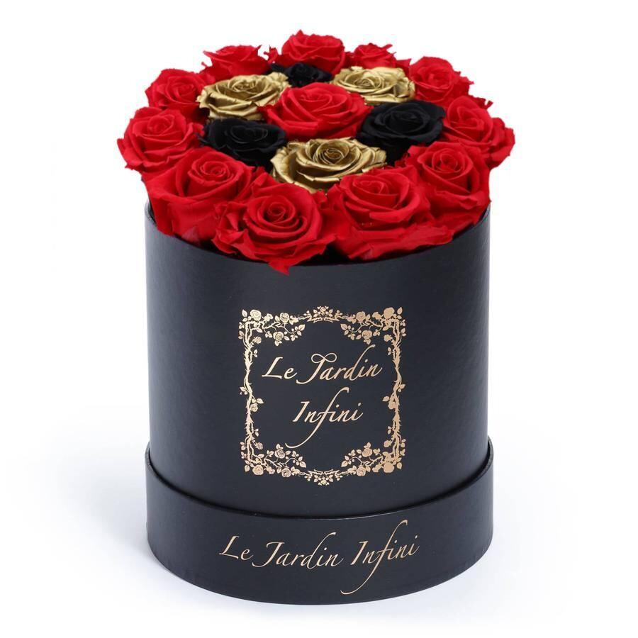Gold Preserved with Black & Red Roses - Medium Round Black Box