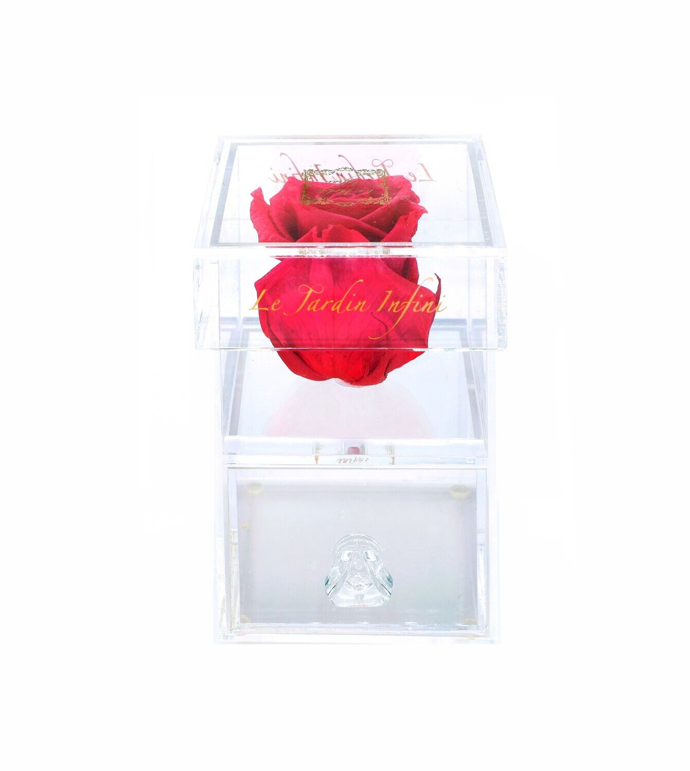 Single Hot Pink Preserved Rose - Acrylic Box With Drawer