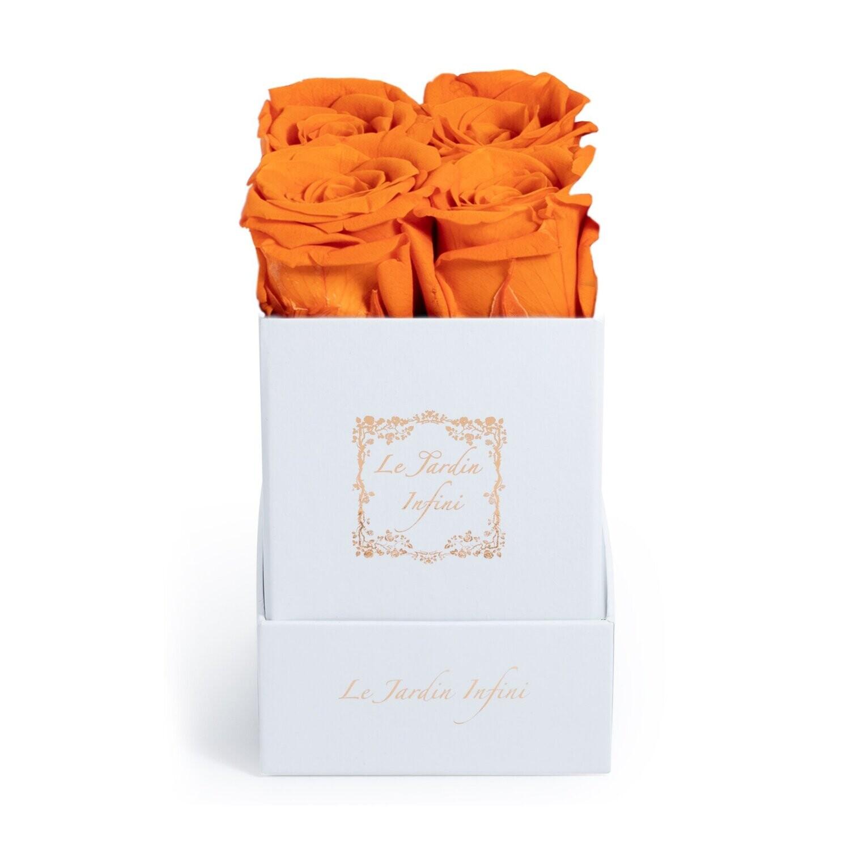 Orange Roses in a box - Small Square White Box