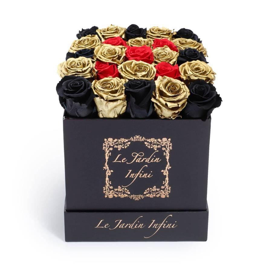 Gold, Black & Red Checker Preserved Roses - Medium Square Black Box