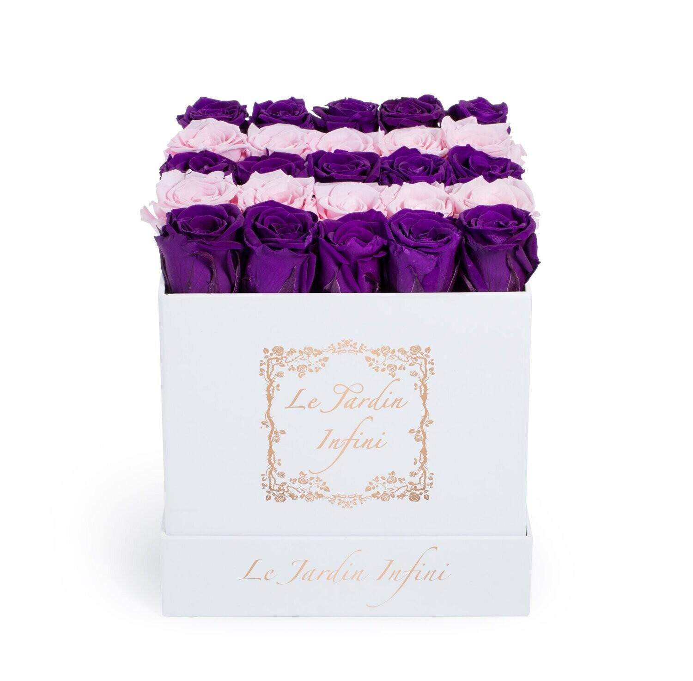 Purple & Soft Pink Rows Preserved Roses - Medium Square White Box