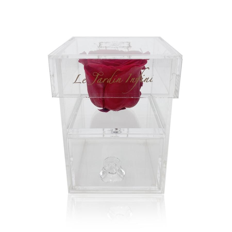 Single Red Preserved Rose - Acrylic Box With Drawer