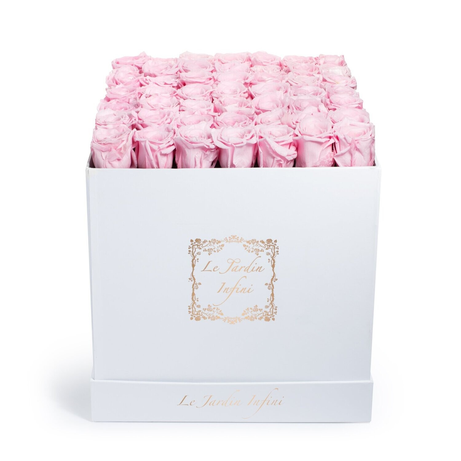 Soft Pink Preserved Roses - Large Square White Box